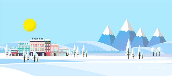 Suburban Buildings In Winter Landscape Art Print