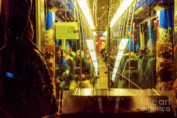 Wall Art - Photograph - Subway Train Interior And Passengers by Guido Koppes