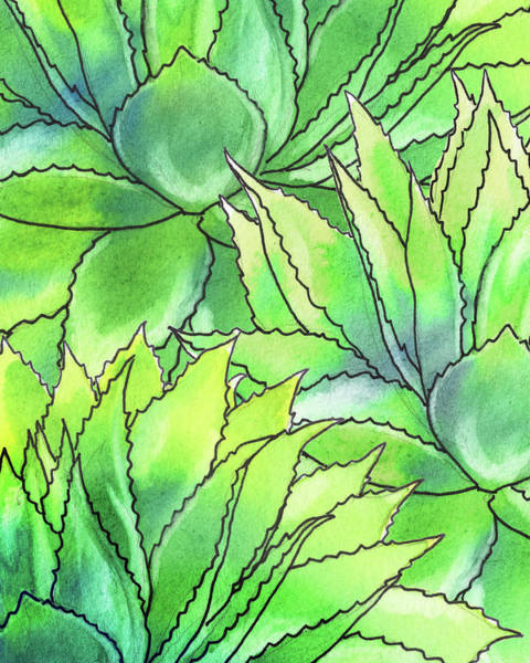 Painting - Succulent Garden Watercolor Composition I  by Irina Sztukowski