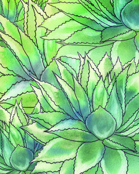 Painting - Succulent Garden Watercolor Composition II by Irina Sztukowski