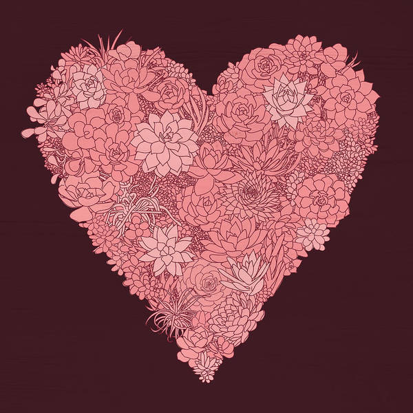 Painting - Pink Succulent Heart Dark Background by Jen Montgomery