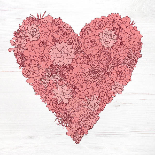 Painting - Pink Succulent Heart White Background by Jen Montgomery