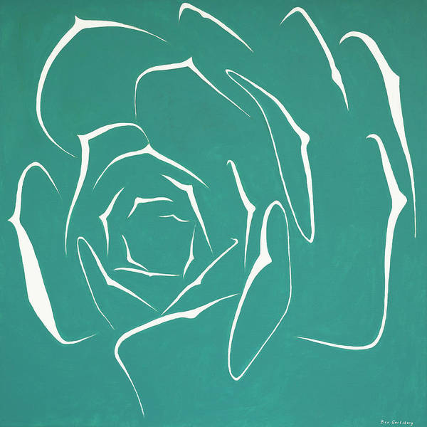 Wall Art - Painting - Succulent In Turquoise by Ben Gertsberg