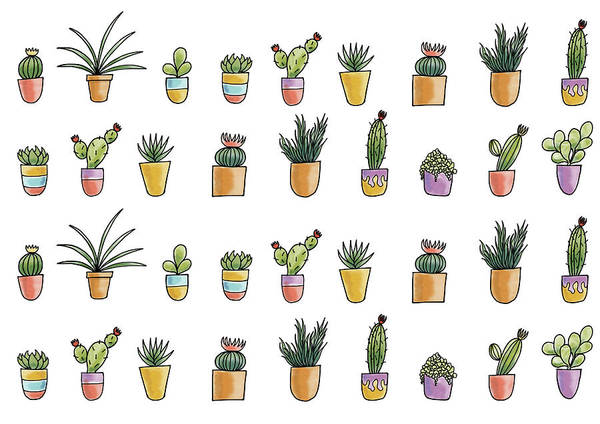 Potted Plant Painting - Succulents by Christy Beckwith