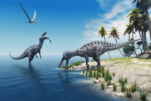 Evolution Wall Art - Digital Art - Suchomimus Dinosaurs - A Large Fish Is by Catmando