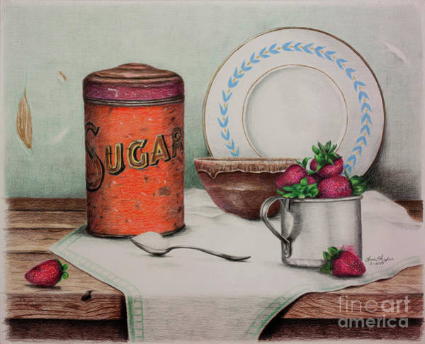 Wall Art - Drawing - Sugar And Strawberries by Lena Auxier