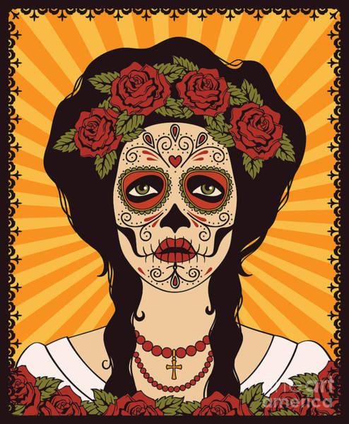 Red Heart Digital Art - Sugar Skull Girl by Rvvlada