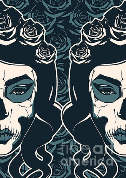 Dark Blue Digital Art - Sugar Skull Girl With Paint For Day Of by Pevuna