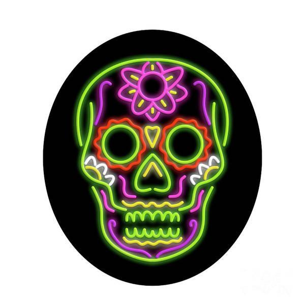 Wall Art - Digital Art - Sugar Skull Oval Neon Sign by Aloysius Patrimonio