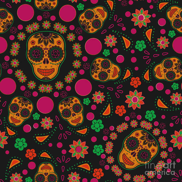 Mexico Wall Art - Digital Art - Sugar Skull Seamless Pattern by Blackspring