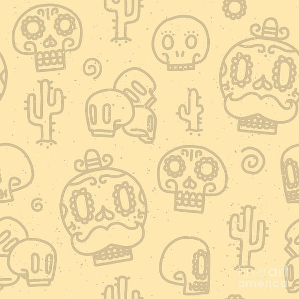 Wall Art - Digital Art - Sugar Skulls Sand Seamless Vector by Dmitriylo