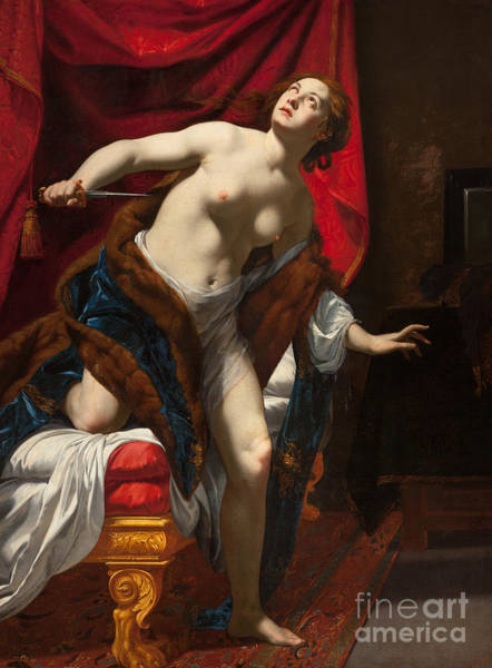 Wall Art - Painting - Suicide Of Lucrece by Simon Vouet