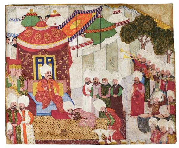 Wall Art - Painting - Sultan Selim I S Accession To The Throne, School Of Nakkash Osman, Turkey, Ottoman, 16th Century by Celestial Images