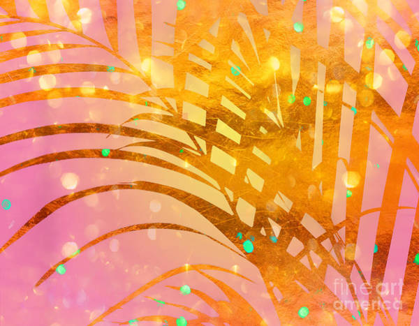 Wall Art - Digital Art - Sultry Summer Sun Golden Tropical Palm Fronds by Tina Lavoie