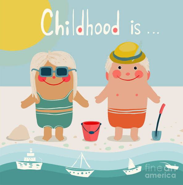 Tan Wall Art - Digital Art - Summer Beach Children Friends by Popmarleo