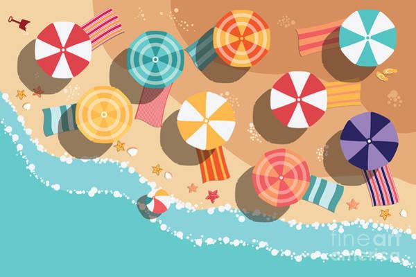 Towels Wall Art - Digital Art - Summer Beach In Flat Design, Aerial by Bluelela