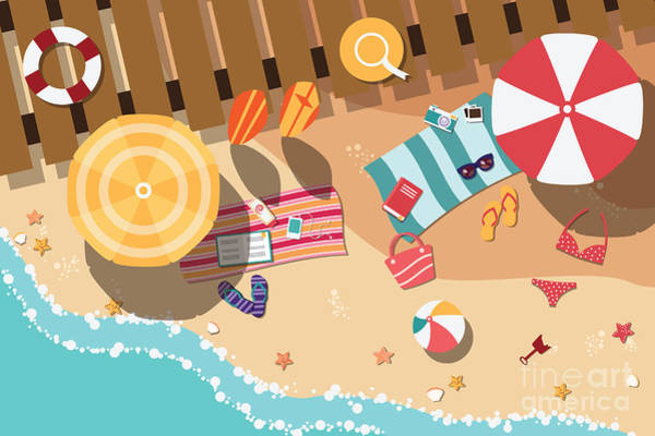 Colored Glass Digital Art - Summer Beach In Flat Design, Sea Side by Bluelela