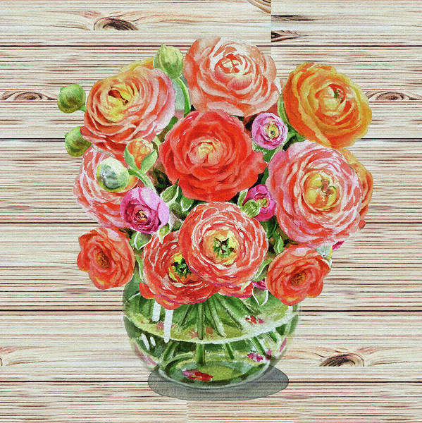 Wall Art - Painting - Summer Bouquet Ranunculus Flowers In The Glass Vase by Irina Sztukowski