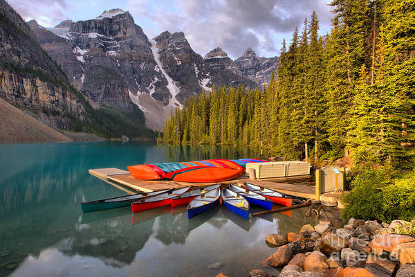 Photograph - Summer Canoe Reflections At Moraine Lake by Adam Jewell