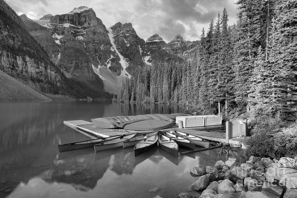 Photograph - Summer Canoe Reflections At Moraine Lake Black And White by Adam Jewell