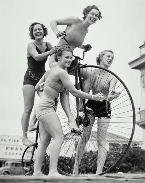 Old People Photograph - Summer Cyclists by Archive Holdings Inc.