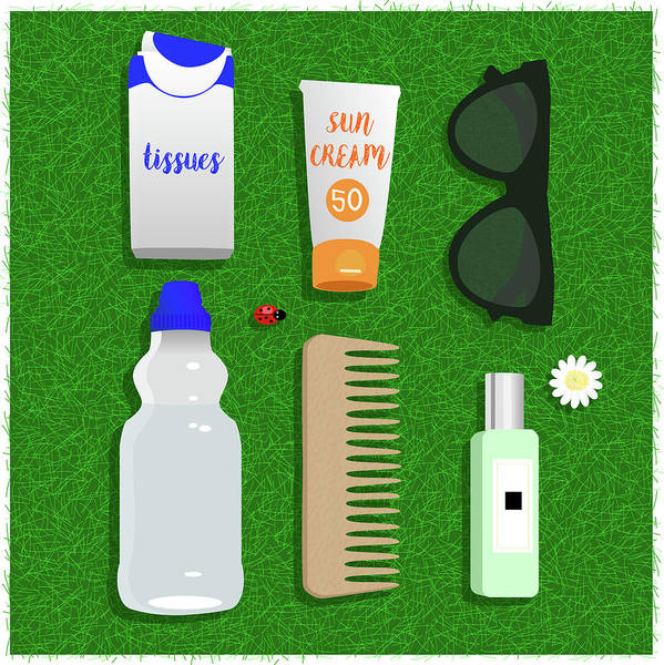 Summertime Digital Art - Summer Essentials by Claire Huntley