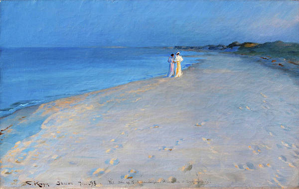Wall Art - Painting - Summer Evening At The South Beach, Skagen - Digital Remastered Edition by Peder Severin Kroyer