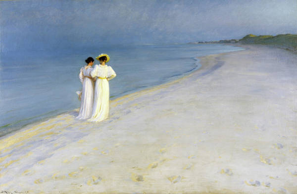 Wall Art - Painting - Summer Evening On The Souther Beach - Digital Remastered Edition by Peder Severin Kroyer