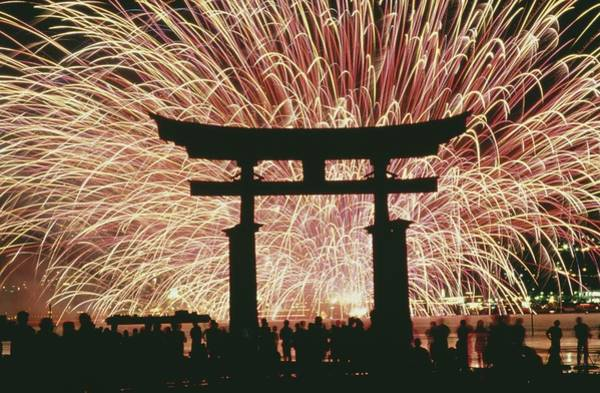 Wall Art - Photograph - Summer Fireworks At Itsukushima Shrine by Paul Quayle