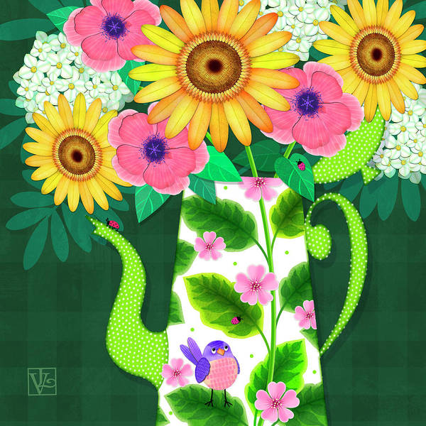 Digital Art - Summer Flowers In Coffee Pot by Valerie Drake Lesiak