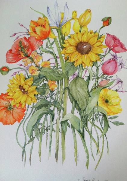 Snapdragons Painting - Summer Flowers by Janet Bester Spaun