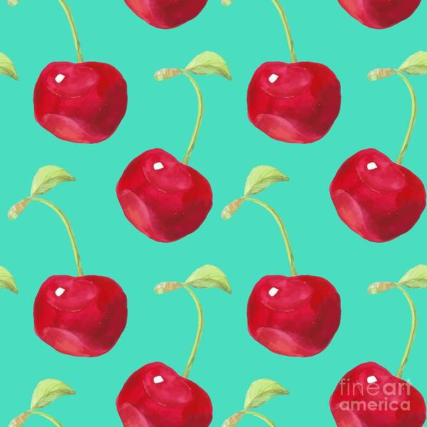 Wall Art - Digital Art - Summer Fruit Pattern. Watercolor Cherry by Artdeeva