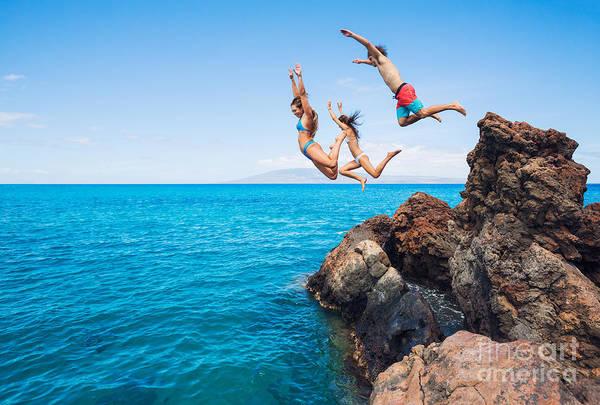 Wall Art - Photograph - Summer Fun, Friends Cliff Jumping Into by Epicstockmedia