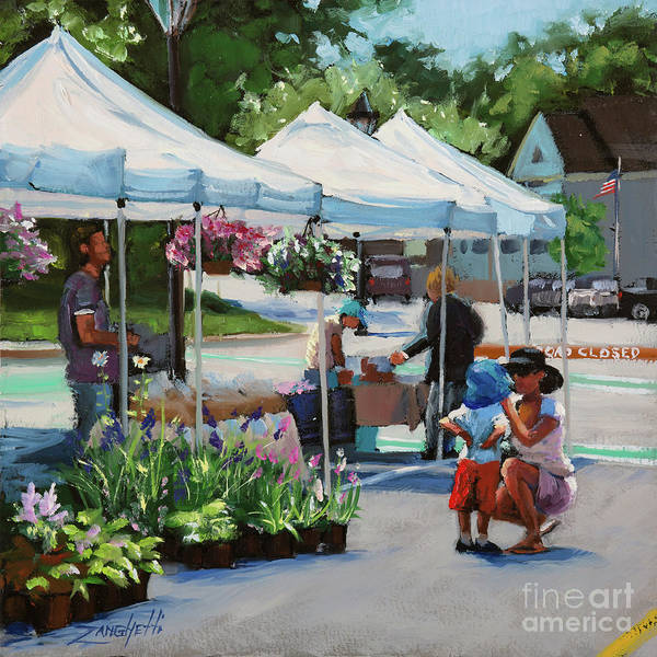 Flower Market Painting - Summer In Hingham Two by Laura Lee Zanghetti