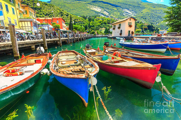 Wall Art - Photograph - Summer Landscape And Wooden Boats,lake by Gaspar Janos