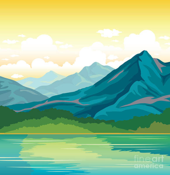 Pines Wall Art - Digital Art - Summer Landscape - Blue Mountains With by Natali Snailcat