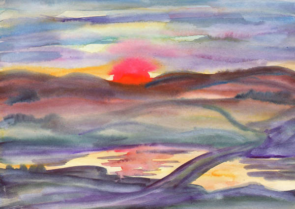 Painting - Summer Landscape Lit By The Rays Of The Setting Sun by Irina Dobrotsvet