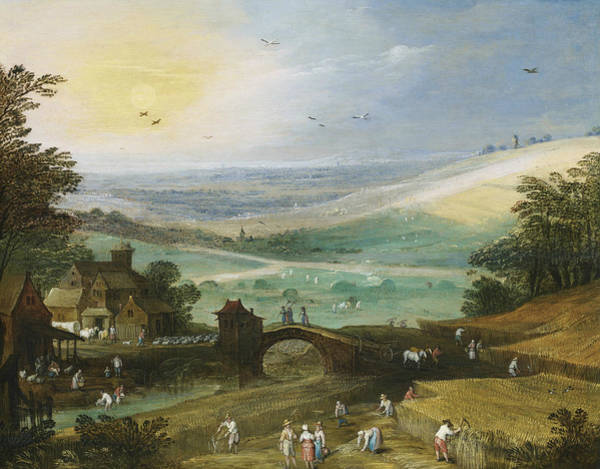 Painting - Summer Landscape With Figures Bringing In The Harvest by Joos de Momper