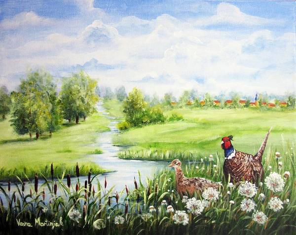 Wall Art - Painting - Summer Meadows And Pheasants by Vesna Martinjak