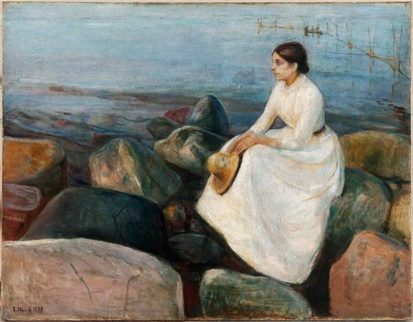 Wall Art - Painting - Summer Night. Inger On The Beach,  Edvard Munch by Celestial Images