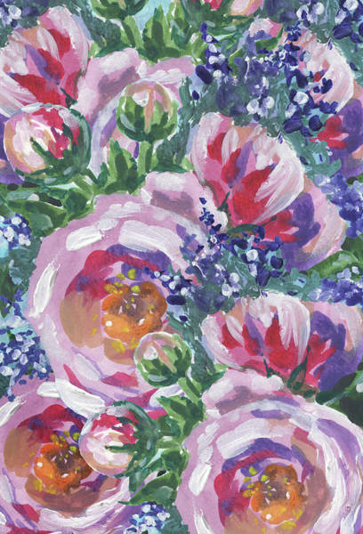 Painting - Summer Pattern Flowers Bouquet Floral Impressionism  by Irina Sztukowski