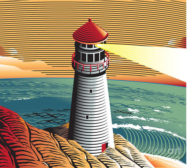 Cliffs Wall Art - Digital Art - Summer Point Lighthouse by Bigredlynx