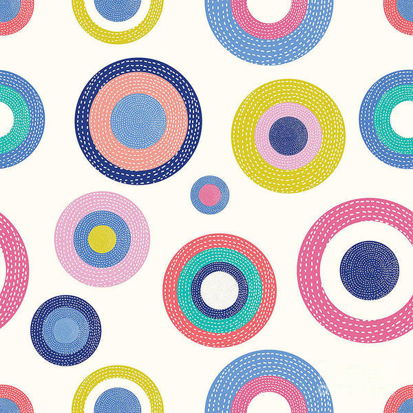 Polka Wall Art - Digital Art - Summer Polka Dot. Vintage Vector by Vyazovskaya Julia