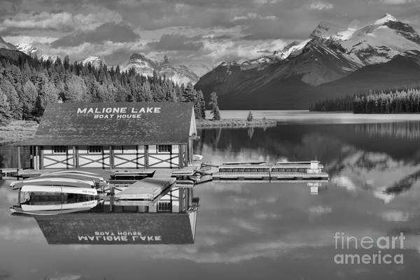 Photograph - Summer Reflections On Maligne Lake Black And White by Adam Jewell