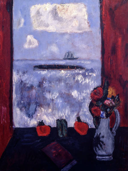 Wall Art - Painting - Summer, Sea, Window, Red Curtain, 1942 by Marsden Hartley