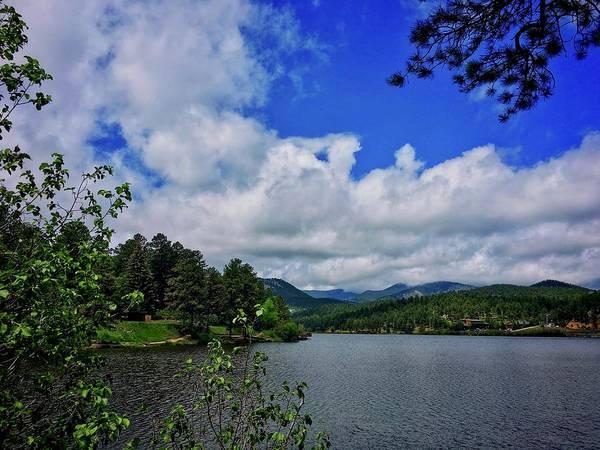 Photograph - Summer Sky Evergreen Lake by Dan Miller