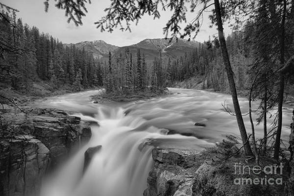 Wall Art - Photograph - Summer Storms Over Sunwapta Falls Black And White by Adam Jewell