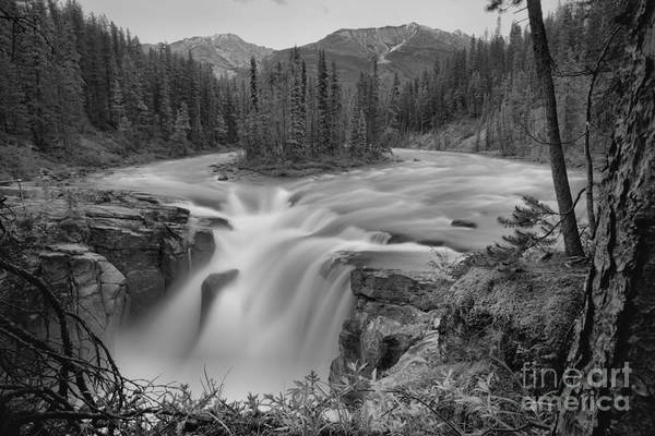 Wall Art - Photograph - Summer Stormy Evening At Sunwapta Falls Black And White by Adam Jewell