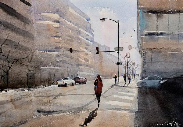 Redwood City Wall Art - Painting - Chicago Winter Stroll by Max Good