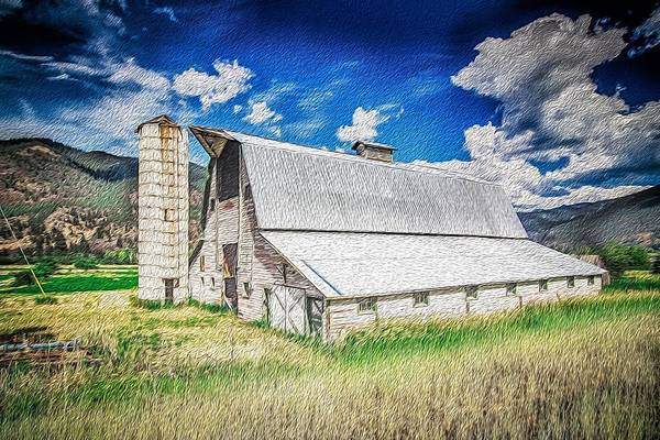 Digital Art - Summer Sunset With A Red Barn In Rural Montana And Rocky Mountains by Alex Grichenko